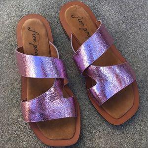 Free people metallic pink slip on sandals